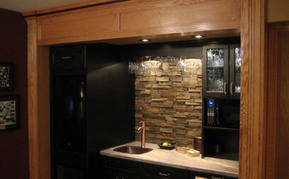 Faux Stone Backsplash Kitchen