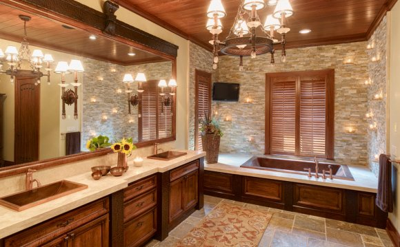 Stacked stone in bathroom