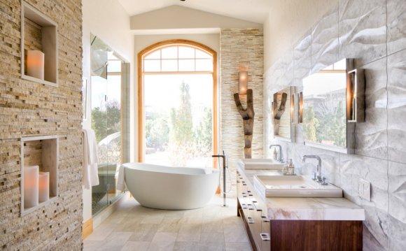 Stacked-stone-tile-Bathroom