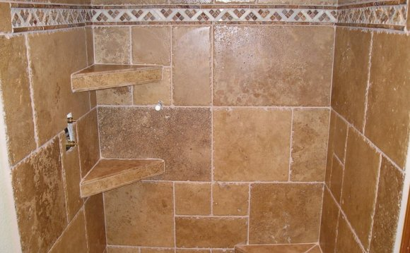 Stone tile shower with