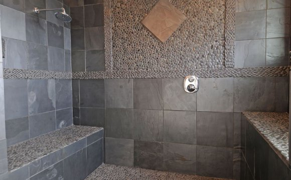 Shower with natural stone