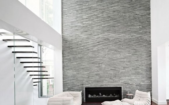 Gray Stone Tile Fireplace