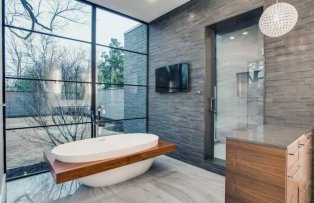 Basalt 3D Ash Grey Rock Showers in Dallas