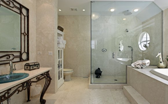 White stone tile shower