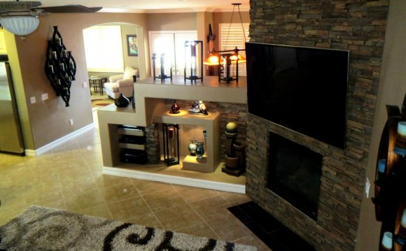 Faux stone Tile fireplace