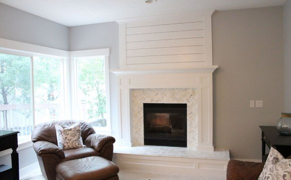 White stone Tile for fireplace