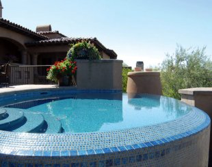 glass tile pool infinity edge detail - Azul Verde Design Group, Cave Creek, AZ