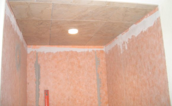 Installing Travertine tile on ceiling