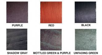 Image of colors: Gray, red, black colored, mottled green & purple, sea-green, purple, unfading green, shadow gray