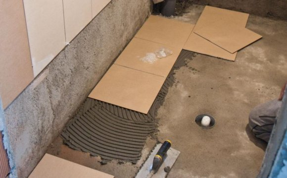 Installing Travertine floor tile concrete