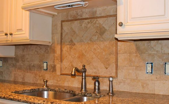 Natural stone tile backsplash designs