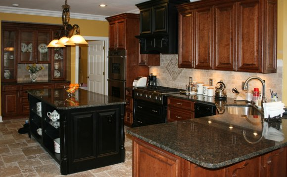 Install stone tile on oak cabinets
