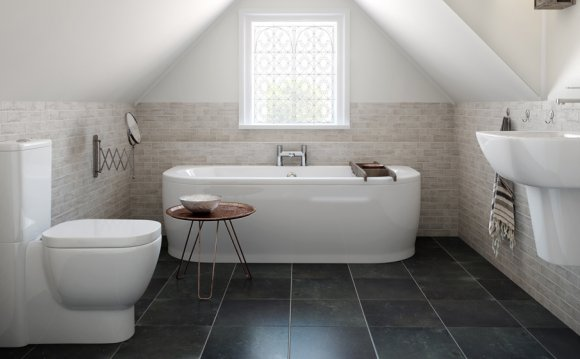 Natural stone effect bathroom tiles