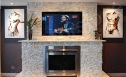 Norstone All-natural rock Veneer Fireplace television Surround