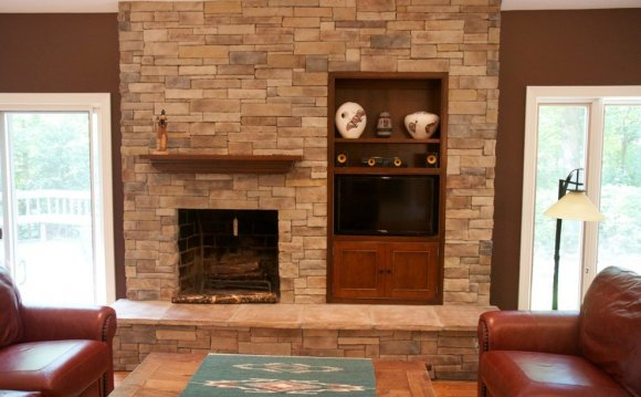 Dry Stacked stone veneer fireplace