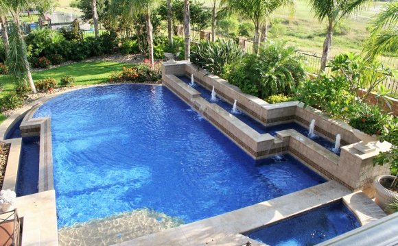 Natural stone tiles for swimming pools