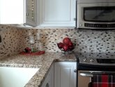 Cutting stone tile backsplash