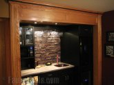 Faux stone tile backsplash