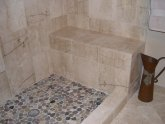 Pebble stone tiles for shower