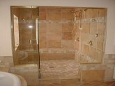 Stone tile Walk in shower