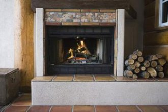 Tile is a durable choice for fireplaces.