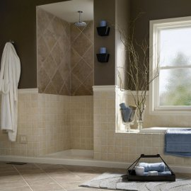 Tile habits in bathroom to define spaces