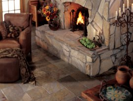 Photo functions Asia Apricot Slate on to the floor with Golden Sun Quartzite in Loose Flagstone in the hearth.
