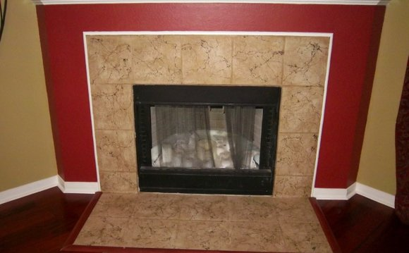 Stacked Stone Tile Fireplace surround