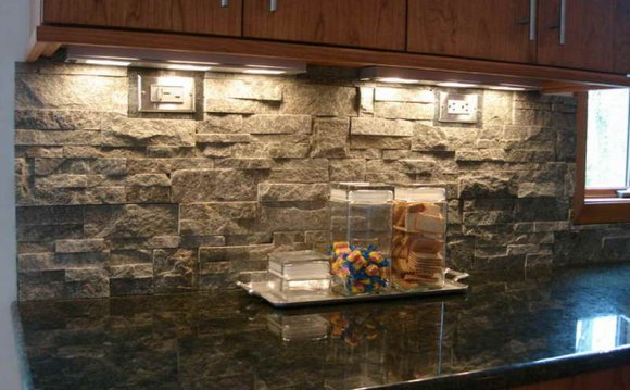 Stacked Stone Tile installation